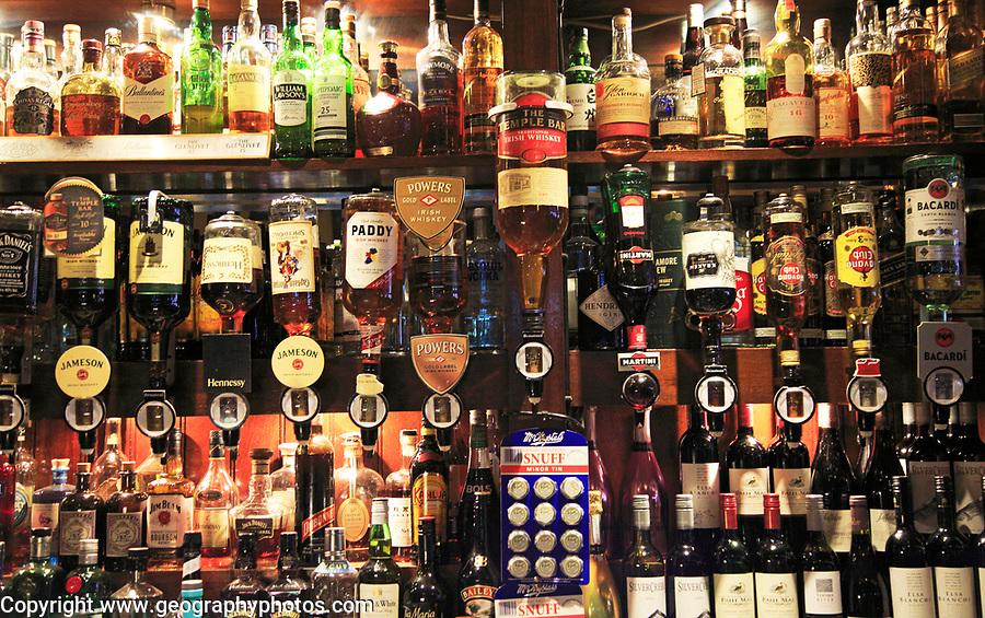 Bottles of spirits bar display inside the Temple Bar pub, Dublin city centre, Ireland, Republic of Ireland