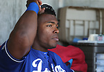 Los Angeles Dodgers&rsquo; Yasiel Puig waits for the start of a spring training game in Scottsdale, Ariz., on Friday, March 18, 2016. <br />Photo by Cathleen Allison