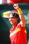 Tenis, DAVIS CUP, World group, first round.SPAIN Vs. SERBIA.Rafael Nadal Vs. Novak Djokovic.Rafael Nadal, celebrate.Benidorm, 03.08.2009..Photo: © Srdjan Stevanovic/Starsportphoto.com