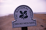 A87BYB Orford Ness national nature reserve national trust sign Suffolk England