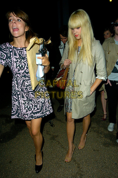 PEACHES GELDOF .Perrier and Paul & Joe - launch party, Serpentine Gallery, London, England..August 29th, 2007.full length beige mac trench coat dress peep toe shoes bag purse brown blue grey gray paisley dress hand in pocket .CAP/CAN.©Can Nguyen/Capital Pictures