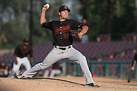 Mike Dennhardt #14 of the Bakersfield Blaze pitches against the Inland Empire 66ers at San Manuel Stadium on August 21, 2014 in San Bernardino, California. Inland Empire defeated Bakersfield, 3-1. (Larry Goren/Four Seam Images)