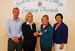Sancta Maria College's Student Awards,.Maureen Corrigan was presented Student of the Year  award from Pauline McKeon from Bank of Ireland also in the photo Pauline Moran School principal and Teacher Michael Davitt. (Deputy Principal)...Pic Conor McKeown