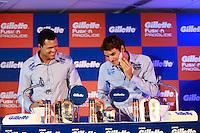 ATENÇÃO EDITOR: FOTO EMBARGADA PARA VEÍCULOS INTERNACIONAIS. SAO PAULO, SP, 06 DE DEZEMBRO DE 2012. APRESENTAÇÃO DO TORNEIO GILLETTE FEDERER TOUR.  os tenistas Jo-Wilfried Tsonga e Roger Federer se barbeiam durante a apresentação do novo torneio Gillette Federer Tour,  na manhã desta quinta feira na zona sul da capital paulista. O Gillette Federer Tour reunirá, durante quatro dias, o melhor do tênis mundial, no Ginásio do Ibirapuera, de 6 a 9 de dezembro, com a participação de grandes estrelas como Roger Federer, Tommy Haas, Thomaz Bellucci, Jo-Wilfried Tsonga, Tommy Robredo, Victoria Azarenka, Maria Sharapova, Serena Williams, Caroline Wozniacki, Bob e Mike Bryan e Marcelo Melo e Bruno Soares.  FOTO ADRIANA SPACA - BRAZIL PHOTO PRESS