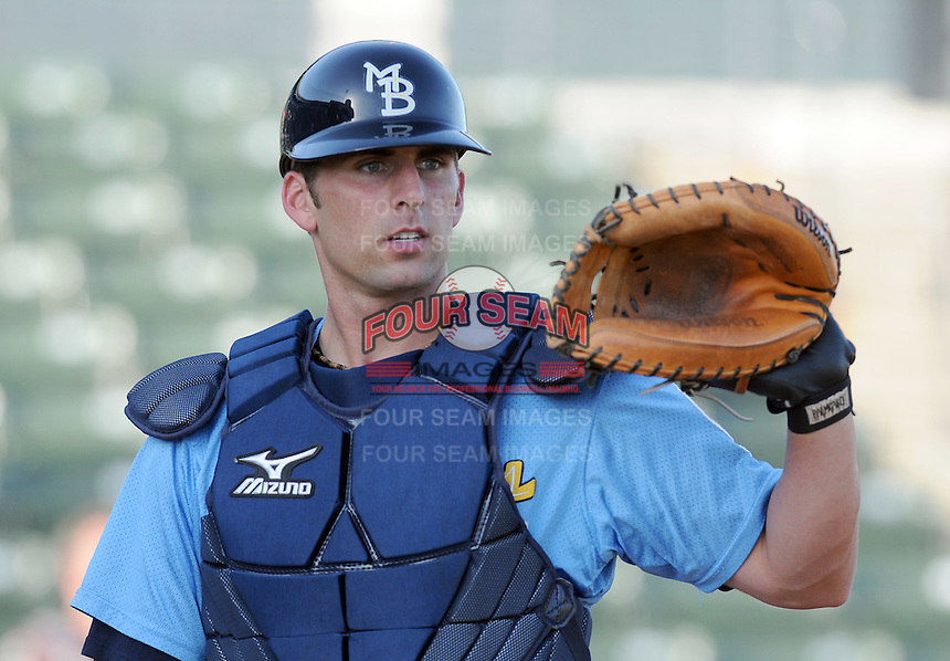 April 10, 2009: Catcher Benji Johnson (5) of the Myrtle Beach Pelicans, Class A affiliate of the Atlanta Braves, in a game against the Wilmington Blue Rocks at BB&T Coastal Field in Myrtle Beach, S.C. Photo by:  Tom Priddy/Four Seam Images