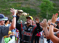 Jun 21, 2015; Bristol, TN, USA; NHRA funny car champion Matt Hagan celebrates after winning the Thunder Valley Nationals at Bristol Dragway. Mandatory Credit: Mark J. Rebilas-