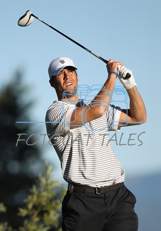 Kansas City Chiefs quarterback Matt Cassel tees off during a practice round at the 22nd American Century Celebrity Golf Championship at Edgewood Tahoe Golf Course in Stateline, Nev., on Thursday, July 14, 2011. .Photo by Cathleen Allison