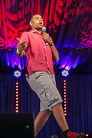20th July 2014: English comedian, rapper and actor Doc Brown (Ben Bailey Smith) plays the Comedy Arena on the fourth day of the 9th edition of the Latitude Festival, Henham Park, Suffolk.<br /> Picture by Stuart Hogben