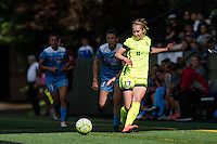 Seattle, WA - Sunday, May 22, 2016: Seattle Reign FC midfielder Beverly Yanez (17) drives up the left flank during a regular season National Women's Soccer League (NWSL) match at Memorial Stadium. Chicago Red Stars won 2-1.