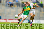 Marc Ó Sé, Kerry in action against Tommy Moolick, Kildare in the All Ireland Quarter Final at Croke Park on Sunday.