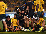 Pumas player  Martin Landajo scores during the Rugby Championship match between Australia and Argentina in Canberra on September 16, 2017. AFP PHOTO / MARK GRAHAM --- IMAGE RESTRICTED TO EDITORIAL USE - STRICTLY NO COMMERCIAL USE --