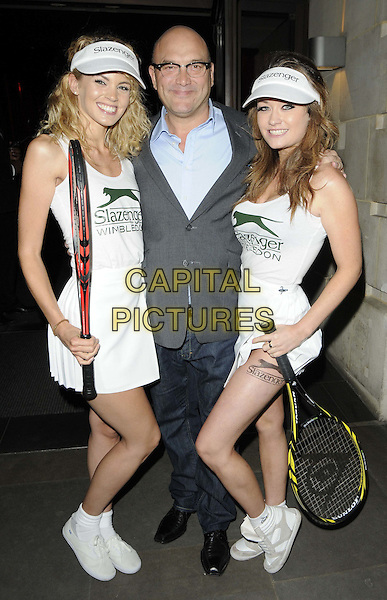 Greg Wallace & models.The Slazenger Wimbledon Party, Aqua Nueva, Argyll St., London, England..June 28th, 2012.full length white blue shirt tennis hat jeans denim grey gray suit jacket glasses .CAP/CAN.©Can Nguyen/Capital Pictures.