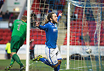 St Johnstone v Dundee United.....29.12.13   SPFL<br /> Stevie May celebrates his third goal<br /> Picture by Graeme Hart.<br /> Copyright Perthshire Picture Agency<br /> Tel: 01738 623350  Mobile: 07990 594431