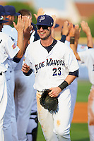 Pensacola Blue Wahoos outfielder Jesse Winker (23) leads the celebratory line after the second game of a double header against the Biloxi Shuckers on April 26, 2015 at Pensacola Bayfront Stadium in Pensacola, Florida.  Pensacola defeated Biloxi 2-1.  (Mike Janes/Four Seam Images)