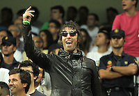 Manchester City's fan Liam Gallagher cheers his team from the stands during Champions League match. September 18, 2012. (ALTERPHOTOS/Alvaro Hernandez). /NortePhoto.com<br />