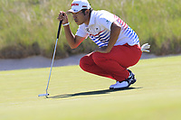 Hideki Matsuyama (JPN) on the 16th green during Thursday's Round 1 of the 118th U.S. Open Championship 2018, held at Shinnecock Hills Club, Southampton, New Jersey, USA. 14th June 2018.<br /> Picture: Eoin Clarke | Golffile<br /> <br /> <br /> All photos usage must carry mandatory copyright credit (&copy; Golffile | Eoin Clarke)