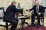 Palestinian Prime Minister Rami Hamdallah meets with German Representative to Palestine Peter Perverth, at his office in the West Bank city of Ramallah on July 19, 2017. Photo by Prime Minister Office