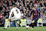 Real Madrid CF's Raphael Varane and FC Barcelona's Leo Messi during La Liga match. March 02,2019. (ALTERPHOTOS/Alconada)