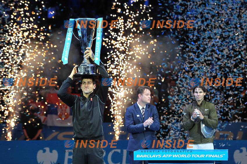Novak Djokovic (Ser) def Rafael Nadal (Esp) <br /> Londra 11/11/2013 Tennis Masters ATP <br /> Foto Panoramic / Insidefoto