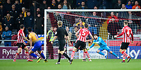 Mansfield Town's Jacob Mellis, left, scores his side's equalising goal to make the score 1-1<br /> <br /> Photographer Chris Vaughan/CameraSport<br /> <br /> The EFL Sky Bet League Two - Lincoln City v Mansfield Town - Saturday 24th November 2018 - Sincil Bank - Lincoln<br /> <br /> World Copyright &copy; 2018 CameraSport. All rights reserved. 43 Linden Ave. Countesthorpe. Leicester. England. LE8 5PG - Tel: +44 (0) 116 277 4147 - admin@camerasport.com - www.camerasport.com