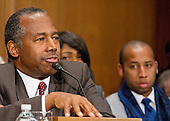 Dr. Benjamin Carson testifies before the United States Senate Committee on Banking, Housing, and Urban Affairs during a confirmation hearing on his nomination to be Secretary of Housing and Urban Development (HUD) on Capitol Hill in Washington, DC on Thursday, January 12, 2017.<br /> Credit: Ron Sachs / CNP