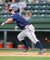 Infielder Ross Heffley (9) of the Rome Braves, an Atlanta Braves affiliate, in a game against the Greenville Drive on August 13, 2012, at Fluor Field at the West End in Greenville, South Carolina. Heffley was an 18th-round pick of the Atlanta Braves in the 2012 First-Year Player Draft out of Western Carolina. Rome won, 3-2. (Tom Priddy/Four Seam Images)