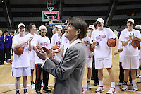 10 March 2008: Stanford Cardinal head coach Tara VanDerveer, Jeanette Pohlen, Jillian Harmon, Melanie Murphy, Hannah Donaghe, Ashley Cimino, Jayne Appel, and Morgan Clyburn during Stanford's 56-35 win against the California Golden Bears in the 2008 State Farm Pac-10 Women's Basketball championship game at HP Pavilion in San Jose, CA.