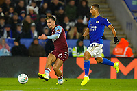 8th January 2020; King Power Stadium, Leicester, Midlands, England; English Football League Cup Football, Carabao Cup, Leicester City versus Aston Villa; Jack Grealish of Aston Villa plays the ball through under pressure from Youri Tielemans of Leicester City - Strictly Editorial Use Only. No use with unauthorized audio, video, data, fixture lists, club/league logos or 'live' services. Online in-match use limited to 120 images, no video emulation. No use in betting, games or single club/league/player publications
