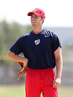 GCL Nationals pitcher Jack McGeary works out on a side field during rehab before a game against the GCL Mets at the Washington Nationals Minor League Complex on June 20, 2011 in Melbourne, Florida.  The Nationals defeated the Mets 5-3.  (Mike Janes/Four Seam Images)