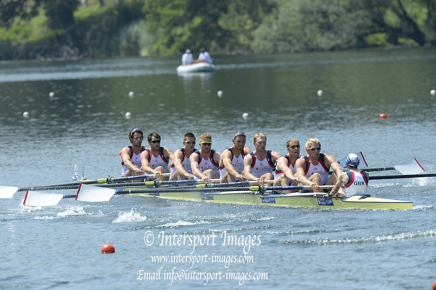 Lucerne. Switzerland. GBR1 M8+. Bow. Tom RANSLEY, Dan RICHIE, Peter REED, Will SATCH, Mo SBIHI, Alex GREGORY George NASH, Andy TRIGGS HODGE and cox,  Phelan HILL, move away from the start pontoon in their heat of the  men's eights FISA WC III. 13:48:33  Friday  12/07/2013  [Mandatory Credit, Peter Spurrier/ Intersport Images] Lake Rotsee,