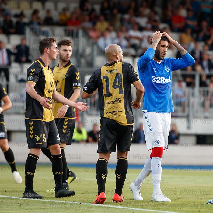 01.08.2019 Progres Niederkorn v Rangers: Connor Goldson dejection