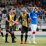 01.08.2019 Progres Niederkorn v Rangers: Connor Goldson dejection