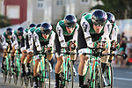 Caja Rural-Seguros RGA in action during Stage 1 of La Vuelta 2019, a team time trial running 13.4km from Salinas de Torrevieja to Torrevieja, Spain. 24th August 2019.<br /> Picture: Luis Angel Gomez/Photogomezsport | Cyclefile<br /> <br /> All photos usage must carry mandatory copyright credit (© Cyclefile | Luis Angel Gomez/Photogomezsport)