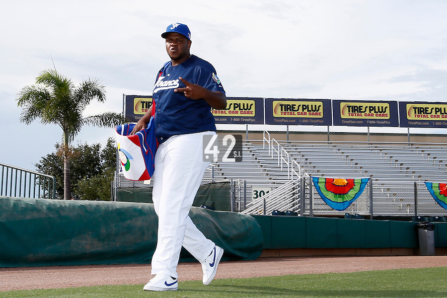 20 September 2012: Miguel Hanson is seen prior to Spain 8-0 win over France, at the 2012 World Baseball Classic Qualifier round, in Jupiter, Florida, USA.
