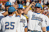 UCLA's Brett Krill during player introductions before Game One of the NCAA Division One Men's College World Series Finals on June 28th, 2010 at Johnny Rosenblatt Stadium in Omaha, Nebraska.  (Photo by Andrew Woolley / Four Seam Images)