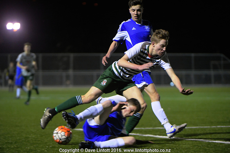 Action from the College Sport Wellington championship division one youth grade boys football Players Trophy final between Rathkeale and St Patrick's College Town at Memorial Park, Petone, New Zealand on Wednesday, 24 August 2016. Photo: Dave Lintott / lintottphoto.co.nz