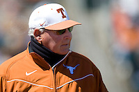 Texas Longhorn coach Augie Garrido against Nebraska on Sunday March 21st, 2100 at UFCU Dish-Falk Field in Austin, Texas.  (Photo by Andrew Woolley / Four Seam Images)