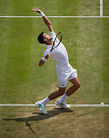 Novak Djokovic (2) of Serbia in action against Adam Pavlasek of Czech Republic in their Men's Singles Second Round Match today<br /> <br /> Photographer Ashley Western/CameraSport<br /> <br /> Wimbledon Lawn Tennis Championships - Day 4 - Thursday 6th July 2017 -  All England Lawn Tennis and Croquet Club - Wimbledon - London - England<br /> <br /> World Copyright &not;&uml;&not;&copy; 2017 CameraSport. All rights reserved. 43 Linden Ave. Countesthorpe. Leicester. England. LE8 5PG - Tel: +44 (0) 116 277 4147 - admin@camerasport.com - www.camerasport.com