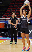 04.08.2015 Silver Ferns Vicki Wilson watches Malia Paseka during Silver Ferns training ahead of the 2015 Netball World Champs at All Phones Arena in Sydney, Australia. Mandatory Photo Credit ©Michael Bradley.
