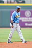 Myrtle Beach Pelicans shortstop Hanser Alberto (3) on defense against the Winston-Salem Dash at BB&T Ballpark on May 7, 2014 in Winston-Salem, North Carolina.  The Pelicans defeated the Dash 5-4 in 11 innings.  (Brian Westerholt/Four Seam Images)