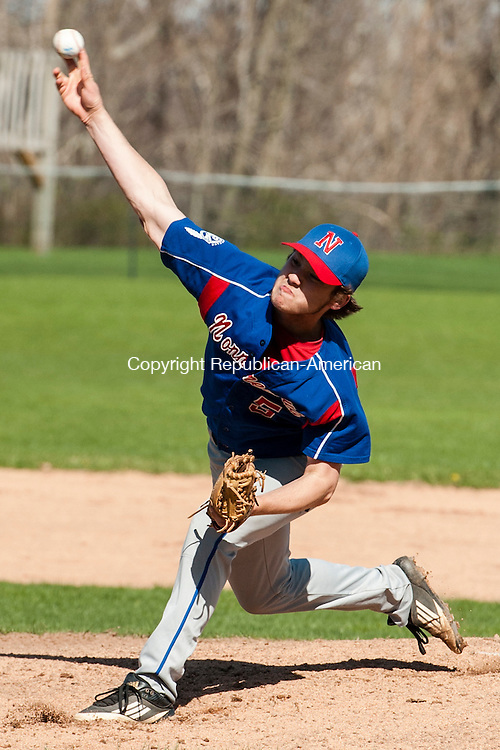 LITCHFIELD, CT-5 May 2014-050514EC03-  Nonnewaug's Owen Kane pitches against Wamogo. The Warriors won at home Monday, 9-3. Erin Covey Republican-American