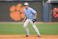 First baseman Dustin Ackley #13 of the North Carolina Tar Heels in action versus the Clemson Tigers at Durham Bulls Athletic Park May 23, 2009 in Durham, North Carolina. The Tigers defeated the Tar Heals 4-3 in 11 innings.  (Photo by Brian Westerholt / Four Seam Images)