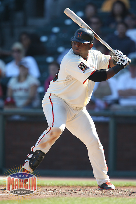 SAN FRANCISCO - SEPTEMBER 7:  Pablo Sandoval of the San Francisco Giants bats during the game against the Pittsburgh Pirates at AT&T Park in San Francisco, California on September 7, 2008.  The Giants defeated the Pirates 11-6.  Photo by Brad Mangin