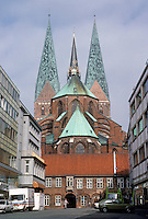 Lubeck: St. Mary's  (Marienkirche), 1250-1330. The arcade blocking the ambulatory is 1483-1486. Photo '87.