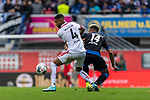 05.10.2019, Benteler Arena, Paderborn, GER, 1.FBL, SC Paderborn 07 vs 1. FSV Mainz 05<br /><br />DFL REGULATIONS PROHIBIT ANY USE OF PHOTOGRAPHS AS IMAGE SEQUENCES AND/OR QUASI-VIDEO.<br /><br />im Bild / picture shows<br />Jeremiah St. Juste (FSV Mainz 05 #04) im Duell / im Zweikampf mit Khiry Shelton (Paderborn #14), <br /><br />Foto © nordphoto / Ewert