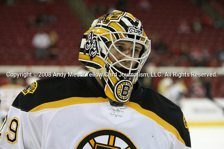 19 February 2008: Boston's Alex Auld. The Boston Bruins defeated the Carolina Hurricanes 3-2 after overtime and a shootout at the RBC Center in Raleigh, NC in a 2007-08 National Hockey League regular season game.