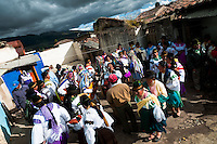 "Indians, wearing colorful costumes, dance in the circle during the Inti Raymi festival in Pichincha province, Ecuador, 27 June 2010. Inti Raymi, ""Festival of the Sun"" in Quechua language, is an ancient spiritual ceremony held in the Indian regions of the Andes, mainly in Ecuador and Peru. The lively celebration, set by the winter solstice, goes on for various days. The highland Indians, wearing beautiful costumes, dance, drink and sing with no rest. Colorful processions in honor of the God Inti (Sun) pass through the mountain villages giving thanks for the harvest and expressing their deep relation to the Mother Earth (Pachamama)."