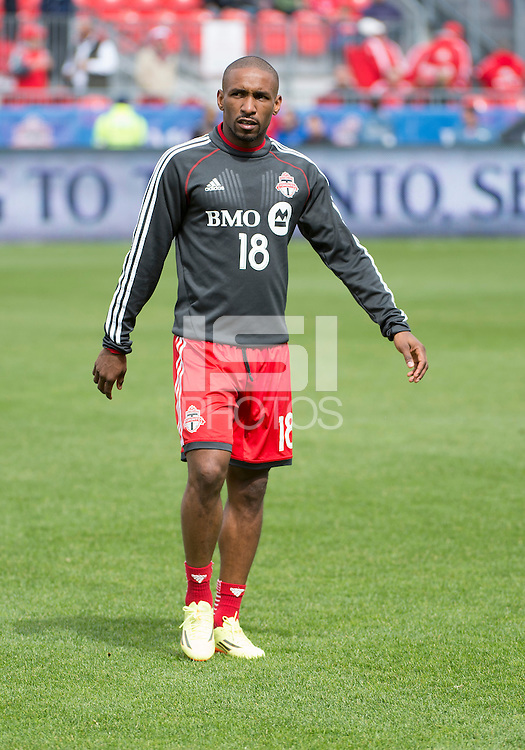 Toronto, Ontario - May 17, 2014: Toronto FC forward Jermain Defoe #18 warms-up before a game between the New York Red Bulls and Toronto FC at BMO Field. Toronto FC won 2-0.