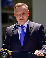 President Andrzej Duda of the Republic of Poland answers reporter's questions as he and United States President Donald J. Trump conduct a joint press conference in the Rose Garden of the White House in Washington, DC on Wednesday, June 12, 2019. <br /> Credit: Ron Sachs / CNP/AdMedia