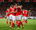 Gareth Bale of Wales celebrates with scorer Ben Woodburn of Wales during the World Cup Qualifying Group D match at the Cardiff City Stadium, Cardiff. Picture date 2nd September 2017. Picture credit should read: Simon Bellis/Sportimage